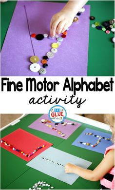 Fine Motor ABCs is a low prep, fun, hands-on learning activity. It helps children improve their fine motor skills while learning the letters of the alphabet. by annmarie Fine Motor Activities For Kids, Motor Skills Activities, Alphabet Activities, Toddler Activities, Alphabet Crafts, Alphabet Letters, Fine Motor Activity, Preschool Fine Motor Skills, Preschool Alphabet