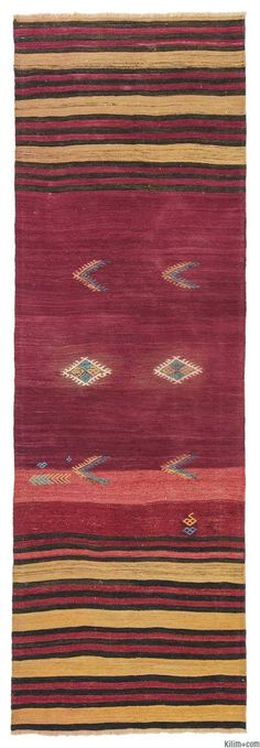 Vintage kilim runner rug hand-woven in the Konya region of Turkey in Central Anatolia in mid 20th century.