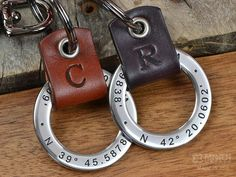 3rd Anniversary Gift Ideas for him. This set of personalized engraved key chains can be personalized with your coordinates or any text up to 35 characters. Hand crafted with Bridle Leather and 304 Stainless Steel. Each hand crafted leather accent can be embossed with one initial of your choice. Made in USA!