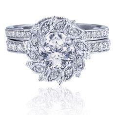Estenza's engagement semi-mount in 18k white gold with 0.45 ct. diamonds, $2,550