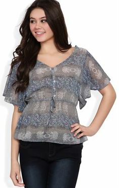 Deb Shops Short Sleeve Peasant Top with Blurred Print and Button Front $11.92