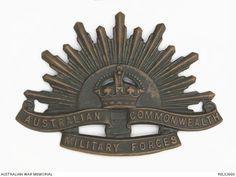 Rising Sun hat badge : Private N A E Short, 2/18 Battalion, AIF