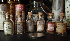 Free PRINTABLE Tiny Medicine Bottle Labels arsenic, poison, ergotin and more for the altered book Secret Book of Sinister Potions, see link on this board