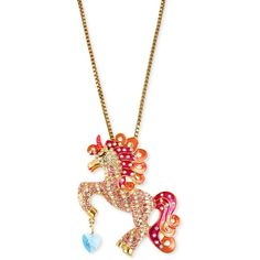 Betsey Johnson Antique Gold-Tone Crystal Unicorn Pendant Necklace ($75) ❤ liked on Polyvore featuring jewelry, necklaces, crystal heart pendant, heart pendant, blue pendant necklace, blue necklace and crystal pendant