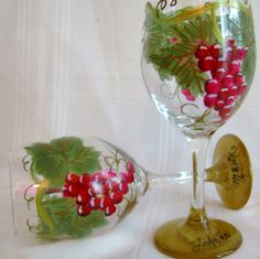 Grape vine hand painted wine glasses by GlassesbyJoAnne on Etsy, $38.00