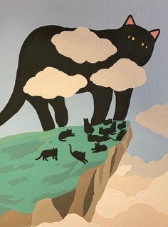 Pretty Art, Cute Art, Cat Aesthetic, Wow Art, Illustration Art, Cat Illustrations, Art Inspo, Original Paintings, Kitty