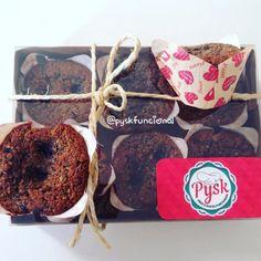 Muffins saudáveis  para lanche da tarde!  Farinha de coco e mirtilo com pouco açúcar mascavo.  Pysk Funcional