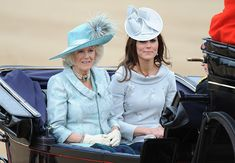 Camilla, Duchess Of Cornwall and Catherine, Duchess of Cambridge attend the Trooping Of The Colour at Horse Guards Parade on June 16, 2012 in London, England.
