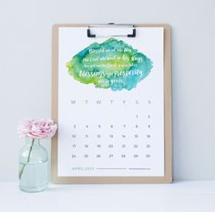 Clementine Creative: Be inspired every day with this printable 2017 wall calendar with a new Bible verse and colourful watercolour background for each month. Download instantly, print out and proudly display your new calendar on your desk. The week starts on a Monday.