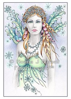 "An Original Fairy-Tangle™ Title: ""Snowbird Fairy "" An Original Color Pencil and Ink Drawing by Artist Norma J Burnell SIZE: Drawing measures 4"" x 6"""