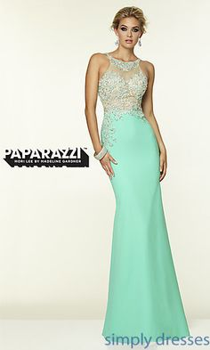 High Neck Mori Lee Long Dress at SimplyDresses.com