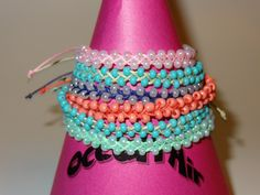 Banzai Beaded Braid monochromatic seed beads & cord in 10 colors.  Unisex & Adjustable