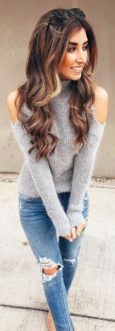#winter #outfits gray cold-shoulder sweater and distressed blue denim jeans. Pic by @jessi_afshin.
