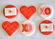Valentine's Day Fondant Cupcake, Cake or Cookie Toppers- Edible- 1 DOZEN. $17.95, via Etsy.