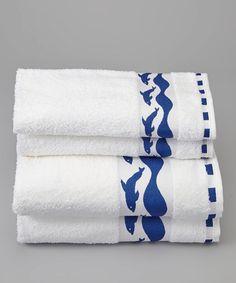 White & Navy Dolphin Towel Set by Espalma
