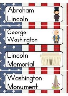 FREE Word Wall - President's Day Words {36 words}. Includes a personal word wall for students, a file-folder word wall for the writing/word work center and big cards for the classroom wall in color and black and white. Also comes with several different word wall worksheets.