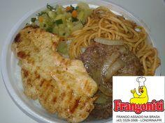 Prato do dia: Bife acebolado, frango grelhado, macarrão a bolonhesa, refogado de legumes, arroz com feijão mais salada. Mini R$ 8, media R$ 10, grande R$ 13. Disque Marmitex 3329-3568.