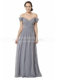 A-line V Neck Off Shoulder Gray Chiffon Bridesmaid Dress
