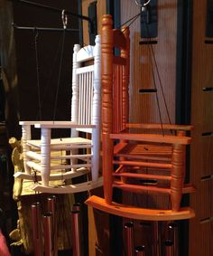 Hang This Clever Stained Wood Rocking Chair Wind Chime