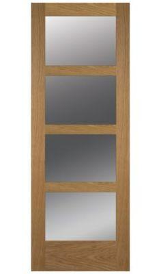 French 4 Lite Shaker Clear Glazed Oak Veneer Door, (H)1981 (W)290mm, 5397007102369