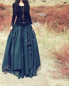 floor skirt with plaid print fabric