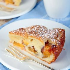 Moist Nectarine Cake -- so i've made this with nectarines, another time plums and yesterday with blueberries and I can honestly say it is one of the BEST MOISTEST summer cakes ever!