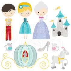 Cinderella Digital Clip Art Set - Personal and Commercial Use