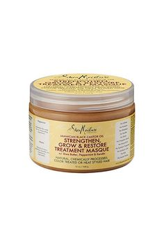 This deep treatment mask includes ingredients such as shea butter, Jamaican castor oil, hydrolyzed keratin, and peppermint oil to help strengthen, moisturize, and stimulate the hair and scalp. It has a loose consistency, which helps with a thorough application while applying the product.SheaMoisture Jamaican Black Castor Oil Strengthen, Grow & Restore Treatment Masque, $12.99, available at Shea Moisture.  #refinery29…