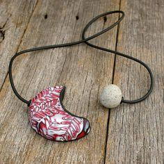 Statement necklace. Dramatic raspberry black by gingerdollstudio