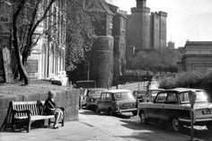 The Black Gate and Castle Keep in Newcastle surrounded by cars on a fine, sunny day on 14 April 1965 Old Pictures, Old Photos, Newcastle Gateshead, Durham City, St James' Park, North East England, Local History, Past, Street View