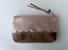 OOAK Zipper pouch clutch peach silk and leather by Amayahandmade, $25.00