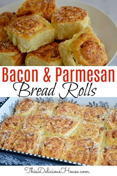 Bacon and Parmesan Pinwheel Bread Rolls are like a savory cinnamon roll that's perfect for a dinner roll or updated breakfast. #pinwheelbreadroll #baconbread Easy Brunch Recipes, Quick Bread Recipes, Brunch Ideas, Baking Recipes, Quick And Easy Breakfast, Savory Breakfast, Breakfast Recipes, Make Ahead Brunch, Dinner Roll