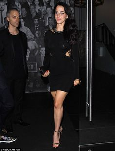 What a beauty: Jessica Lowndes stepped out for dinner in a black dress on Tuesday at Catch restaurant in West Hollywood