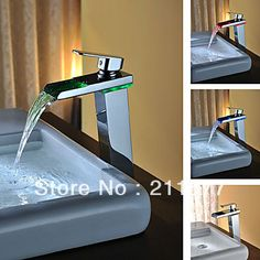 LED Tall Basin Faucet Water Tap New Bathroom Sink Mixer Waterfall Torneira Chrome Vanity Vessel Sinks Mixers Taps Faucets Brass Bathroom, Tub Faucet, Bathroom Sink Faucets, Bathroom Fixtures, Sinks, Modern Bathroom, Sink Mixer Taps, Basin Mixer, Waterfall Faucet