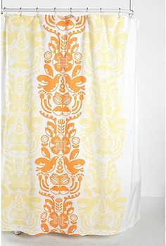 My dream shower curtain has arrived at Urban Outfitters! I think this will carry over the orange theme from the fun room nicely. Will it look goofy with my fav. Funky Shower Curtains, Tub Paint, Dream Shower, Natural Bathroom, Throne Room, Bathroom Colors, Cool Rooms, Floral Prints, Orange
