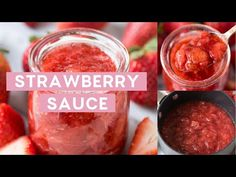 Feel like Martha Stewart and make your own homemade strawberry sauce! This is an easy, 4 ingredient fresh strawberry sauce recipe. Fresh Strawberry Recipes, Strawberry Sauce, Oven Dried Strawberries, Banana Soup, Dessert In A Jar, Sugar Free Desserts, Pancakes And Waffles, Vintage Recipes, Cheesecake Recipes