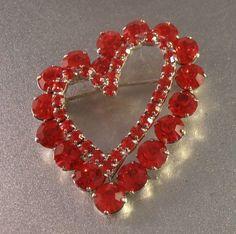Red Rhinestone Heart Brooch Romantic Valentine by LynnHislopJewels