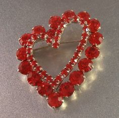 Red Rhinestone Heart Brooch Romantic Valentine by LynnHislopJewels