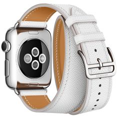 Apple Watch Hermès Double Tour Bands Now Available Separately in: Blanc, Feu, Bleu Paon, Étain & Bleu Jean and band colors without watches: Fauve Barenia, & Capucine.