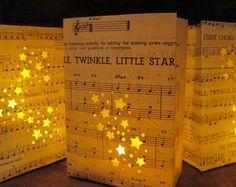 twinkle twinkle little star baby shower decorations | 10 Twinkle Twinkle Little Star Lumi nary Bags, Vintage Sheet Music ...