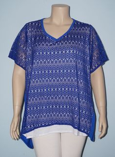 Catherines 3x 26/28w Blue Crochet Lace Overlay Sharkbite Hem Knit Top Tee Shirt #Catherines #KnitTop #Casual