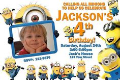 20 Despicable Me Minions Birthday Invitation with Photo Prints (includes envelopes)
