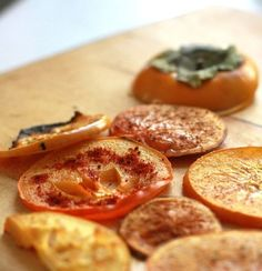 toaster oven roasted persimmons ~ top with cinnamon or other spice for different flavors and uses