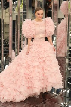 Lily Rose Depp was the perfect Chanel bride in this pink ruffled confection on the Spring 2017 runway.