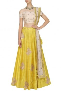 Mishru presents Yellow floral embroidered lehenga with ivory off shoulder blouse available only at Pernia's Pop Up Shop. Indian Skirt, Indian Dresses, Indian Outfits, Off Shoulder Lehenga, Off Shoulder Blouse, Anarkali Gown, Saree Dress, Bridal Blouse Designs, Mysore