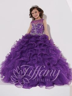 Tiffany Princess 13402 Purple High Neck Beaded Bodice Ball Gown Pageant Dress