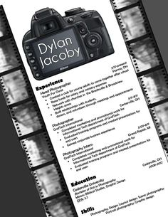 My resume design for photography. Buy the template for just $15!