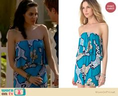 Valentina's blue strapless ruffle dress on Devious Maids. Outfit Details: http://wornontv.net/18707