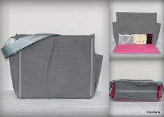 Ready to ship* Maryssa style Breast Pump Bag in Terrasol Charcoal with zipper top closure and bottle pockets by EllaAlana on Etsy