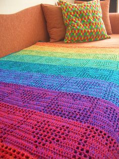 Rainbow Hearts Filet Crochet Afghan / Curtain #crochet #blanket #afghan #rainbow #heart